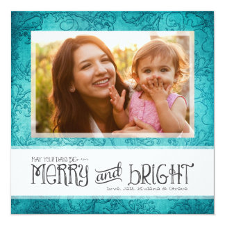 GC | May Your Days Be Merry & Bright Aqua 5.25x5.25 Square Paper Invitation Card