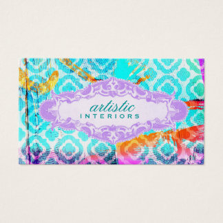 GC Modern Colorful Clover Violet Name Plate Business Card