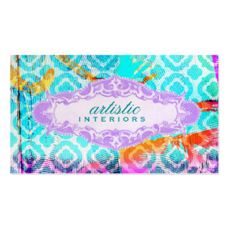 GC Modern Colorful Clover Violet Name Plate Double-Sided Standard Business Cards (Pack Of 100)