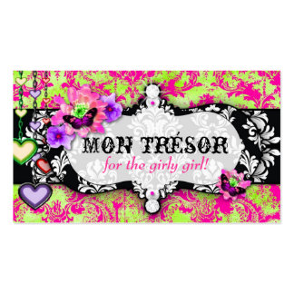 GC | Mon Trésor Hot Pink Lime Double-Sided Standard Business Cards (Pack Of 100)