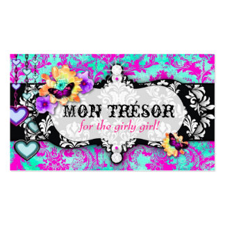 GC | Mon Trésor Turquoise Pink Double-Sided Standard Business Cards (Pack Of 100)