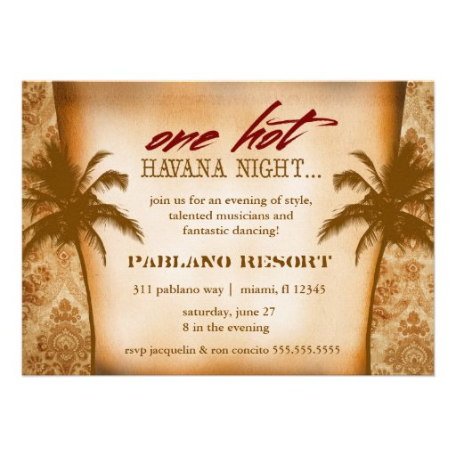 GC One Hot Havana Night 5x7 Paper Invitation Card | Zazzle