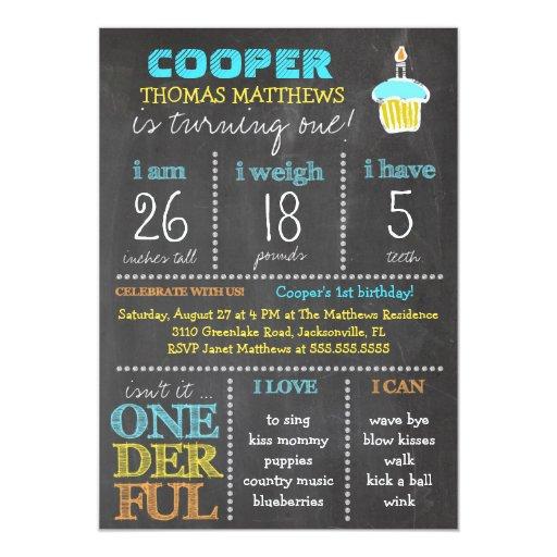 GC Onederful First Birthday Boy Chalkboard Personalized Invitations