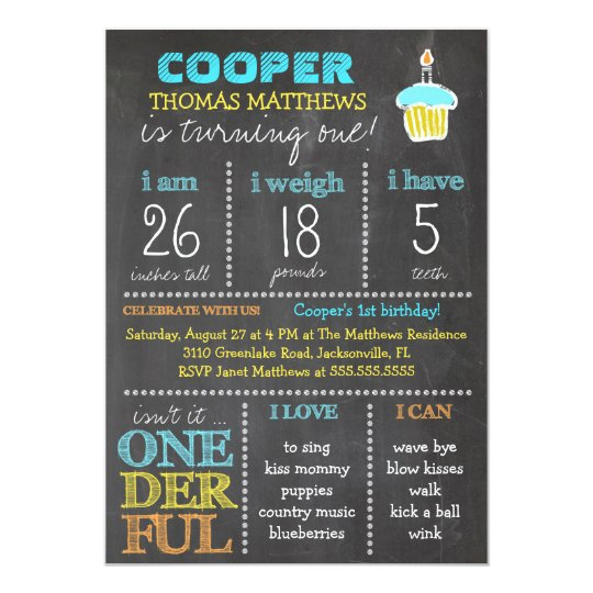Gc Onederful First Birthday Boy Chalkboard Invitation