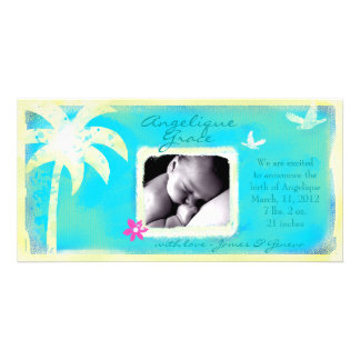 GC | Paradise Found Baby Girl Announcement Photo Cards