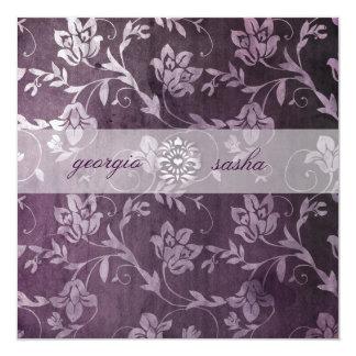 GC Passionately Purple Floral Vintage 5.25x5.25 Square Paper Invitation Card