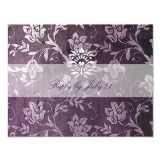 GC | Passionately Purple Floral Vintage RSVP 4.25x5.5 Paper Invitation Card