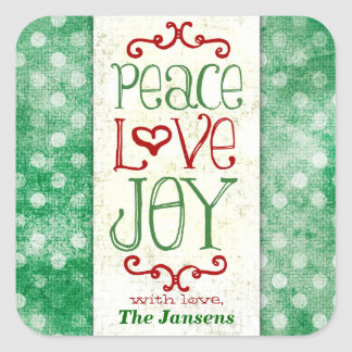 GC Peace Love and Joy Green Red Dots Square Sticker