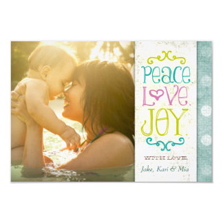 GC | Peace Love and Joy Grungy Linen Aqua Card