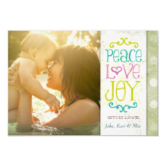 GC | Peace Love and Joy Grungy Linen Lime Card