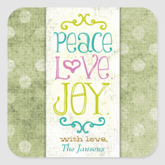 GC Peace Love and Joy Lime Dots Square Sticker