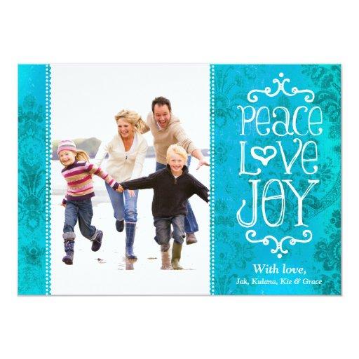 GC Peace Love Joy Vintage Aqua Holiday Card Damask Announcements