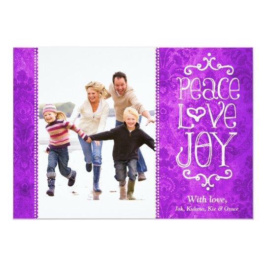 GC Peace Love Joy Vintage Holiday Card Damask