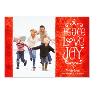 "GC Peace Love Joy Vintage Holiday Card Red Damask 5"" X 7"" Invitation Card"