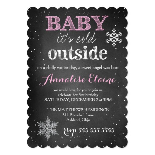 GC Pink Baby It's Cold Outside Winter Birthday Custom Announcement