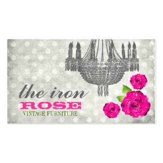 GC Pink Gray Vintage Rose Dots Double-Sided Standard Business Cards (Pack Of 100)