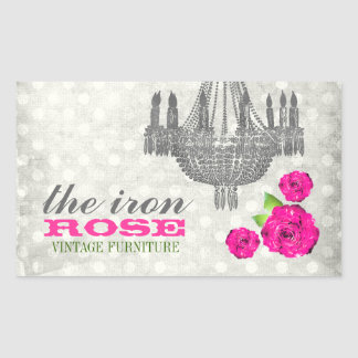 GC Pink & Gray Vintage Rose Dots Rectangular Sticker