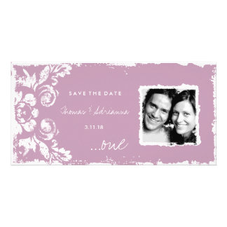 GC | Pink Vintage Damask Save the Date Photo Card