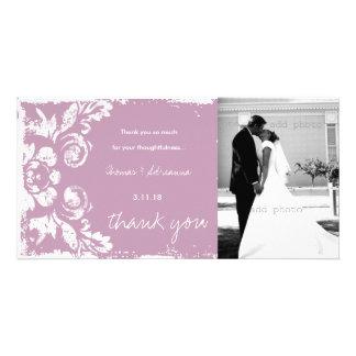 GC | Pink Vintage Damask Thank You Photo Card