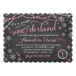 "GC Pink Winter ONEderland Birthday Invitation 5"" X 7"" Invitation Card"