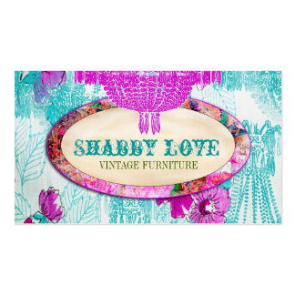 GC Purple Aqua Shabby Love Double-Sided Standard Business Cards (Pack Of 100)