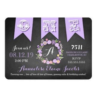 GC Purple Girl First Birthday Banner Chalkboard Card