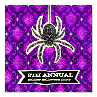 GC Purple Spider Spook Halloween Cut Out 5.25x5.25 Square Paper Invitation Card