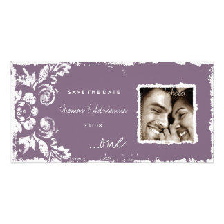 GC | Purple Vintage Damask Save the Date Photo Cards