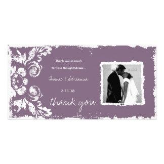 GC | Purple Vintage Damask Thank You Photo Card
