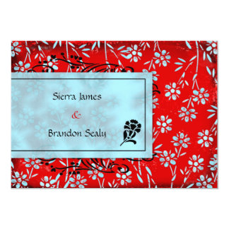 GC | Ruby Red & Turquoise Garden Inivtation 5x7 Paper Invitation Card