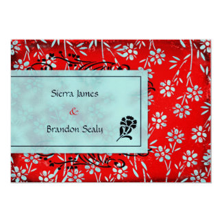 GC | Ruby Red & Turquoise Garden Metallic 5x7 Paper Invitation Card