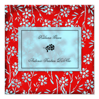 GC | Ruby Red & Turquoise Garden Square Inivtation 5.25x5.25 Square Paper Invitation Card