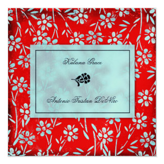 GC | Ruby Red & Turquoise Garden Square Metallic 5.25x5.25 Square Paper Invitation Card