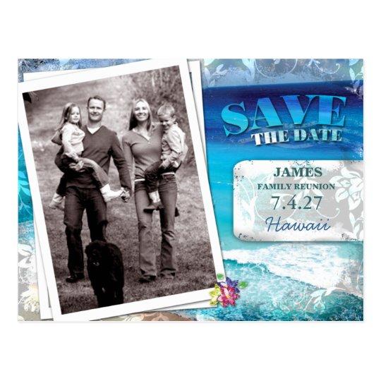 GC   Save the Date Family Reunion-Vintage Beach Postcard
