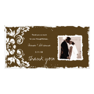 GC | Sepia Vintage Damask Thank You Photo Card