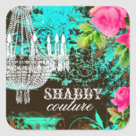 GC Shabby Aqua Garden Chandelier Square Sticker