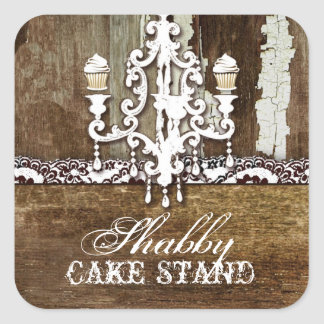 GC Shabby Cake Stand Chandelier Square Stickers