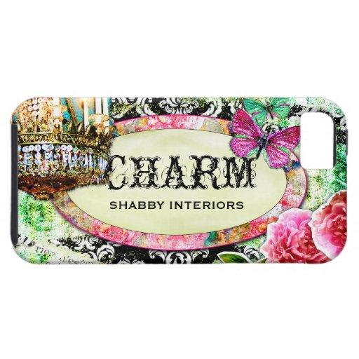 GC Shabby Charm Interiors Black Damask iPhone 5 Cover