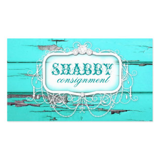 GC Shabby Vintage Aqua Wood Double-Sided Standard Business Cards (Pack Of 100)
