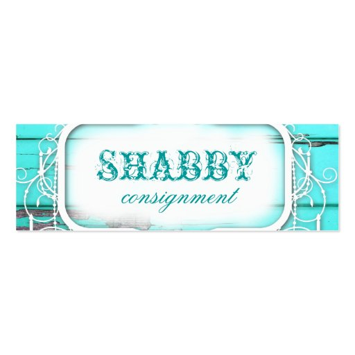GC Shabby Vintage Aqua Wood Price Tag Business Cards