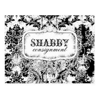 GC Shabby Vintage Black & White Damask Postcard