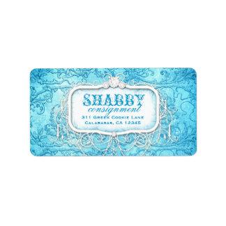 GC Shabby Vintage Blue Swirl Label