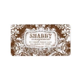 GC Shabby Vintage Brown & White Damask Label