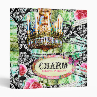 GC | Shabby Vintage Charm - Black Damask 3 Ring Binder