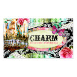 GC | Shabby Vintage Charm Black Damask Business Card Templates