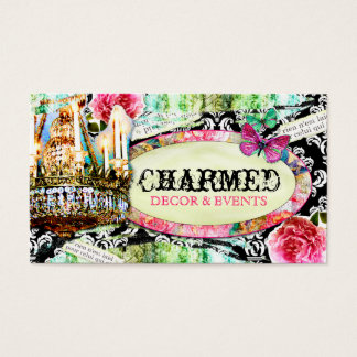 GC | Shabby Vintage Charm Black Damask Business Card