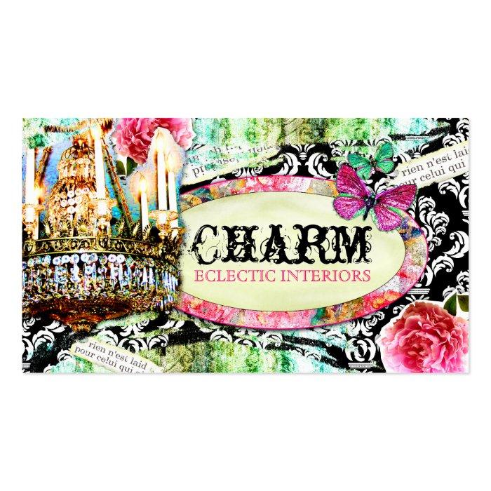 GC  Shabby Vintage Charm Black Damask Business Card