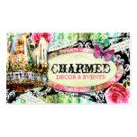 GC | Shabby Vintage Charm Black Damask Business Card Template