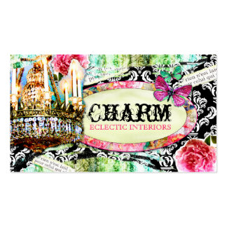 GC  Shabby Vintage Charm Black Damask Double-Sided Standard Business Cards (Pack Of 100)