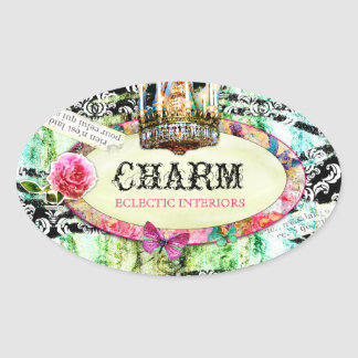 GC | Shabby Vintage Charm - Black Damask Oval Sticker